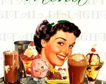 Waitress, Ice Cream, Diner MENU. Genuine 1950s DIGITAL Retro Vintage Menu Cover. Vintage Illustration Digital Download.