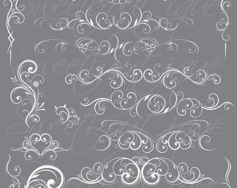 WHITE Flourishes and Swirls Clip Art / For Scrapbooking / Personal And Commercial Use / Instant Download 0628