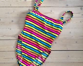 Fun Retro Swimsuit Striped Neon / Medium / 1980s Scandinavian vintage