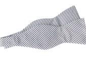 Bow Tie - Grey Seersucker - Men's Self Tie - Freestyle Tie