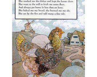 Chicken Fabric Block - Hen from Nursery Rhyme - Repro Frederick Richardson