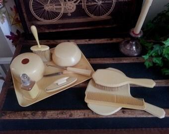 Vintage Parisian Ivory / French Ivory / Celluloid / Bakelite Vanity Set