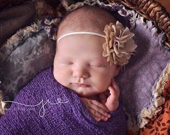Burlap and chiffon baby headband newborn girl beige hairbow bow