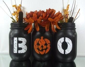 Halloween Table Decor, Halloween Mason Jars, Halloween Decor, Fall Decor, Rustic Home Decor, Table Centerpiece, Halloween Decorations