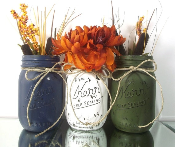 Thanksgiving Centerpiece, Fall Decor, Rustic Home Decor, Thanksgiving Decorations, Autumn Decor, Mason Jar Vases, Thanksgiving Decor