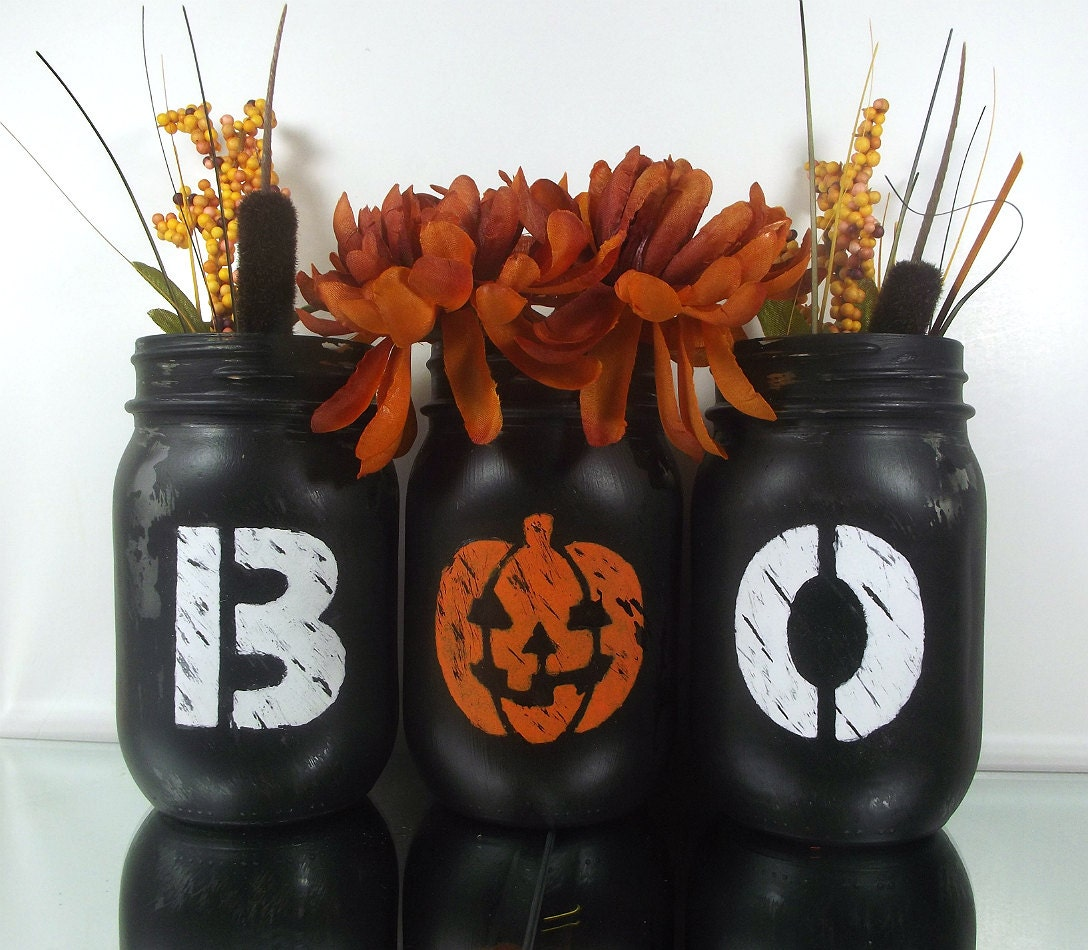 halloween table decor halloween mason jars halloween decor. Black Bedroom Furniture Sets. Home Design Ideas