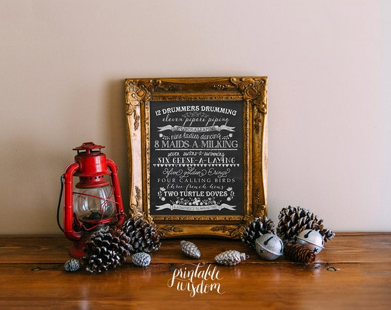 Christmas subway art printable wall art decoration, twelve 12 days of christmas carol holiday decor chalkboard typography INSTANT DOWNLOAD