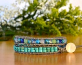 Larimar, Turquoise and Beach Glass 2-wrap Bracelet