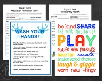 Daycare / Preschool Printables - Hand Washing Sign, Infant Daily Report, Medication Permission Sheet and Subway Art - INSTANT DOWNLOAD