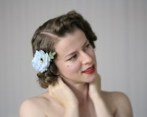 """Light Blue Hair Accessory, Flower Clip, Vintage 1950s Fascinator, Floral Clip In Headpiece Pale Blue - """"Wink Those Baby Blues"""""""