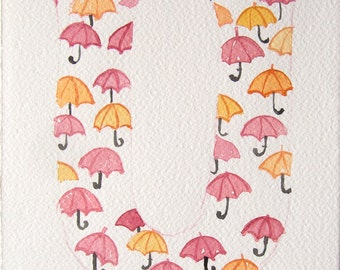 Watercolor letter U. Watercolor painting. Typography art original. Small watercolors with umbrellas. Nursery art. Kitchen decor. Kids art