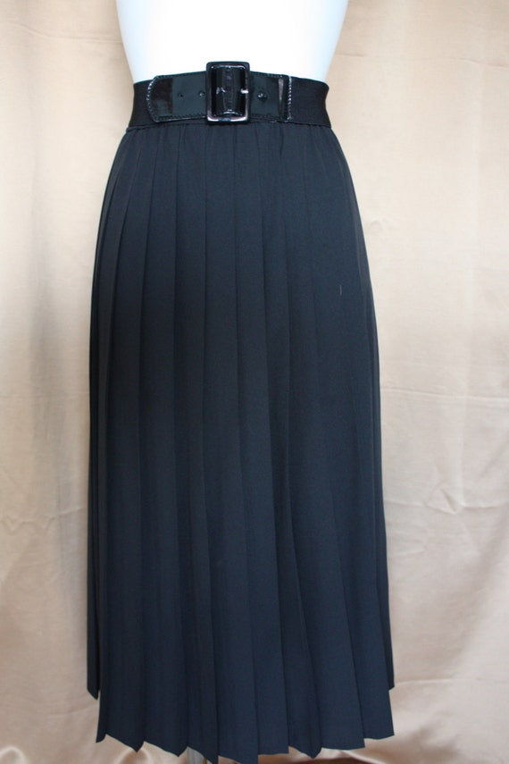 jet black pleated midi skirt plus size silky lined skirt with