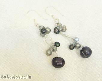 Black gray freshwater pearl earring with crystal on silk thread