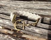 Gray Braided Nautical Anchor Bracelet