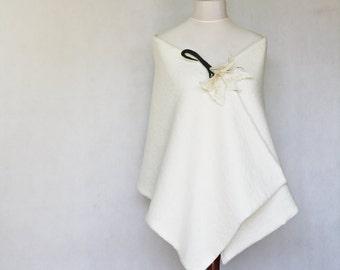 Bridal Cape, wedding shawl, wedding stole, white scarf, white stole, shawl wrap, wool scarf, white cape, wedding cape, wedding scarf