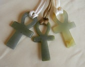 Egyptian Ankh key of life amulet pendant / serpentine w fabric cord , Egyptian key to immortality talisman & religious icon ,serpentine Ankh