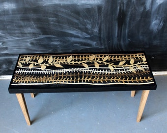 Hand Painted Reclaimed Wood Coffee Table Minimal Mid Century Modern Rustic Natural Nature Tree Vine Leaf Pattened - - Tanglewood Patten