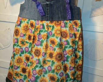 Boutique Style Knot Dress- size 6/7 SUNFLOWERS and Recycled Blue Jeans