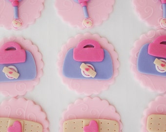 Set of 12 Doc McStuffins Fondant Edible Cupcake Toppers