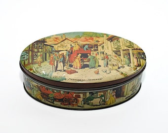 Vintage Candy Tin, Dickensian Memories, Rileys Toffee Tin, Storage Container, Storage Tin, Tin Box with Lid, Collectible Tin