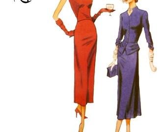 Retro Vogue V1136 Sewing Pattern Slim Sleeveless Dress Jacket with Peplum 1945 Reprint Design Uncut Size 6 8 10 12 FFolds