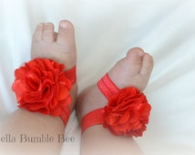Small Red Baby Barefoot Shabby Flower Sandals for Newborn Infant or Toddler Girls, Socks Booties, Bottomless Sandles Shoes