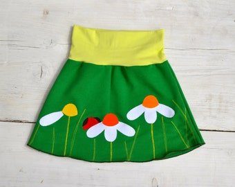 Girls ladybird and daisies skirt - green jersey with stretchy waist - made to order