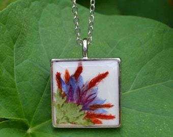Real Flower Pendant Necklace Botanical Art Pressed Flower Jewelry Tropical Collage