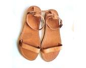 New design greek leather sandals women, flat sandals ankle strap