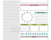 Day Planner Printable - EDITABLE - Daily planner, weekly planner, to do, checklist - INSTANT DOWNLOAD