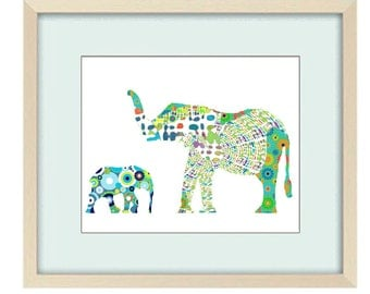 boy nursery elephant art, elephant nursery, baby boy nursery, nursery decor, nursery art, jungle nursery, baby animal print nursery wall art