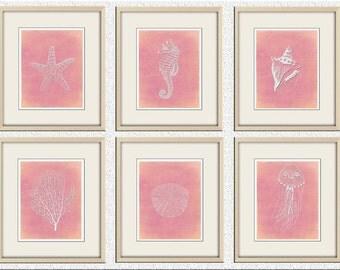 bathroom art print set,coastal art,coastal print,nautical Art,Starfish,seahorse,coral,sand dollar,Wall Decor, beach art, beach house art
