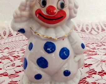 Vintage 1970s Clown Figurine Porcelain Bell