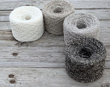 Boucle Linen Yarn  - set of  4 yarn balls in grey, white and mixed
