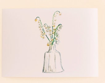 Flowers in Vases Print Set,  Any 1 Floral Vase Print, Lily of the Valley Print