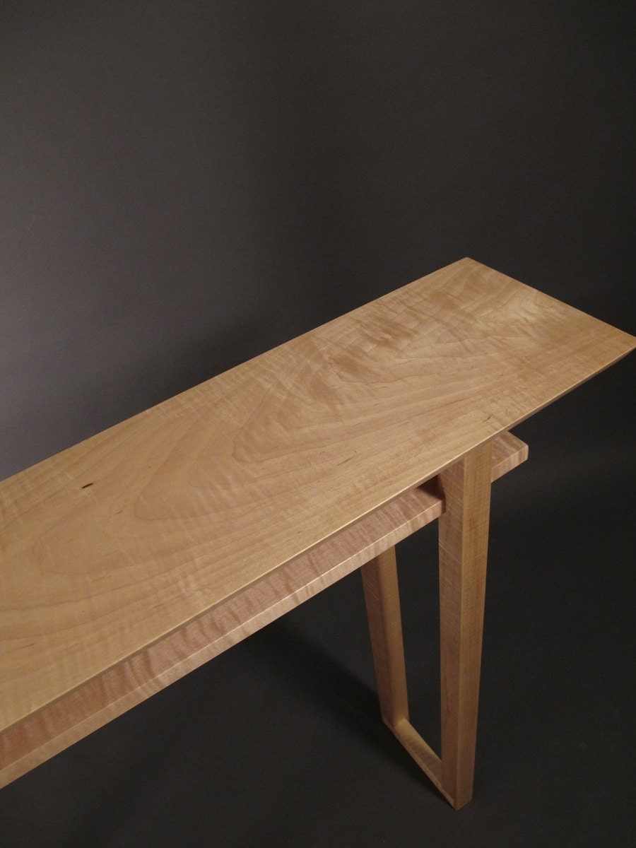 Tiger maple narrow console table mid century modern wood zoom geotapseo Image collections