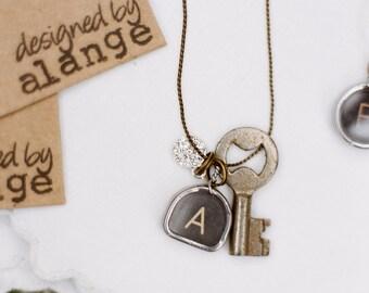 Vintage Typewriter Key Necklace with Charm & Vintage Skeleton Trunk Key (one letter)