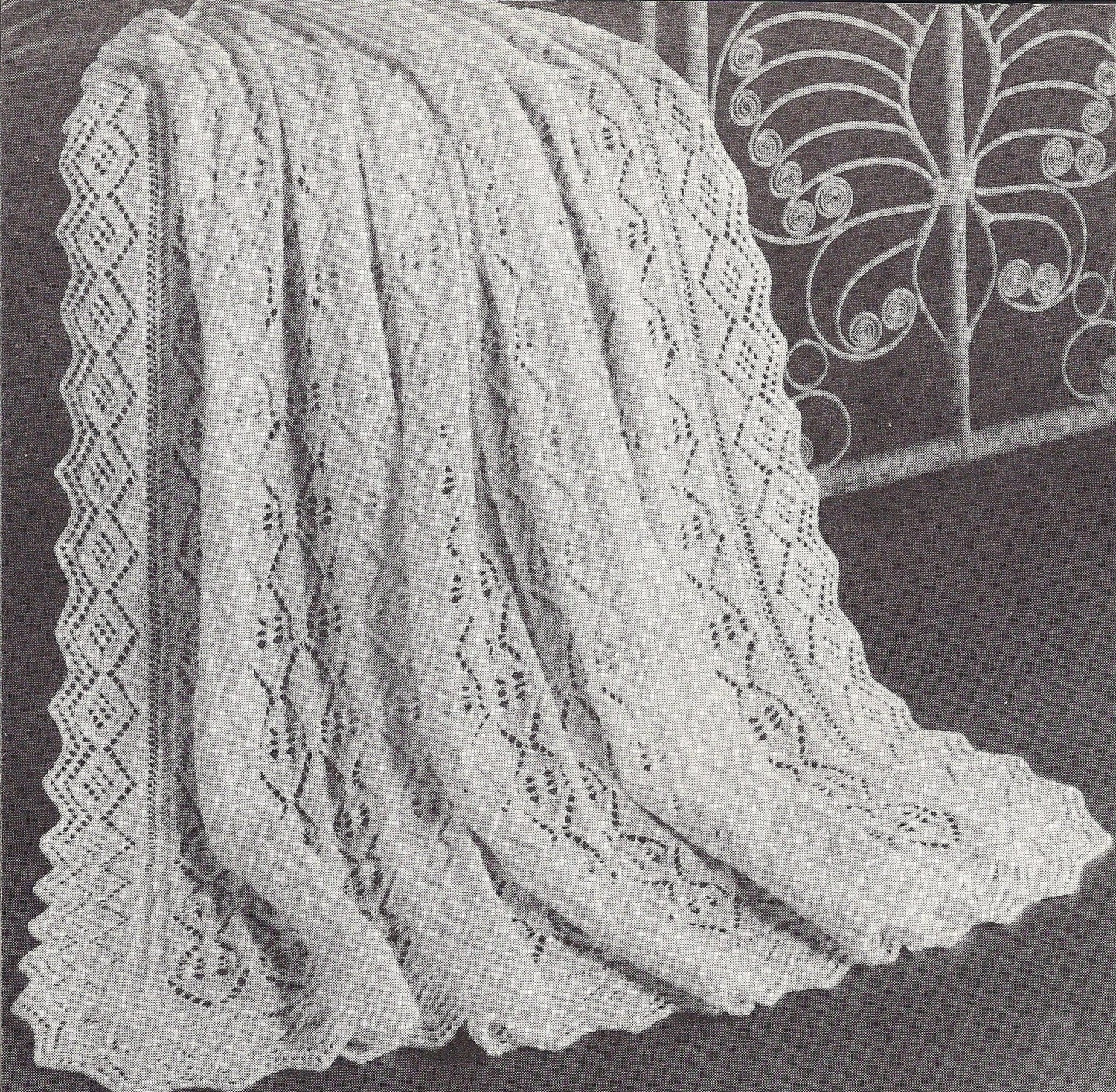 Diamond Afghan Knitting Pattern : Diamond Dot Shawl 1950s Knit Baby Baptism Afghan Pattern