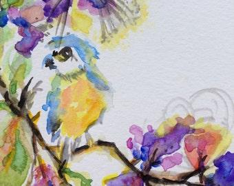 """Original Watercolor """"Little Blue Bird"""""""
