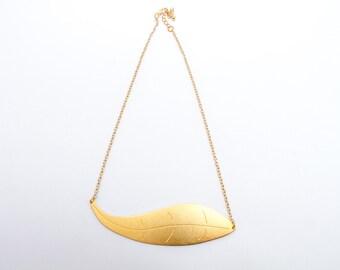 Engraved Leaf Necklace, in gold