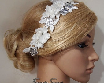 Bridal Head piece, Bridal Hair Comb, Wedding Hair Comb, bridal Fascinator, Bridal Hair Clip, Wedding Fascinator, White lace flower