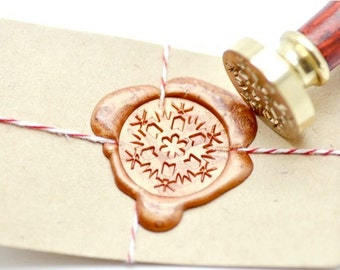 B20 Wax Seal Stamp Winter Holiday Let It Snow Snowflake