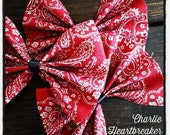 White on Red Paisley Print with Tulle Overlay Hair Bow by Charlie Heartbreaker