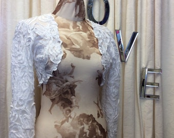 Twirly Girly Romantic 3D Chiffon Swirl Applique White Long Sleeve Bridal Wedding Shrug Bolero.