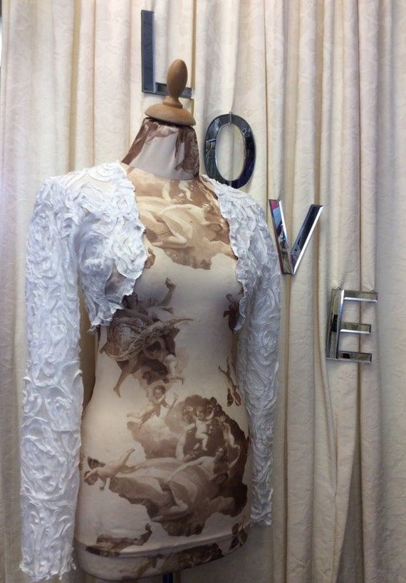 Twirly Girly Romantic 3D Chiffon Swirl Applique White Long Sleeve Bridal Wedding Shrug Bolero.