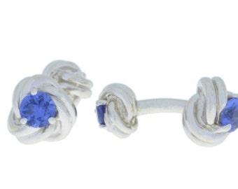 2.5 Ct Tanzanite Knot Cufflinks .925 Sterling Silver Rhodium Finish