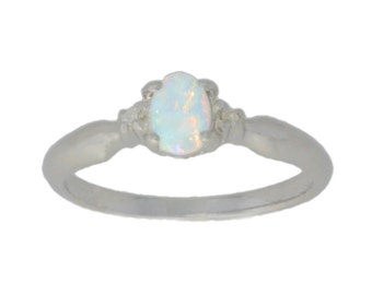 6x4mm Opal & Diamond Oval Ring .925 Sterling Silver Rhodium Finish