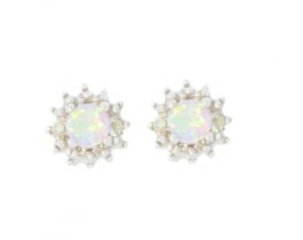 4mm Pink Opal & Diamond Stud Earrings .925 Sterling Silver Rhodium Finish