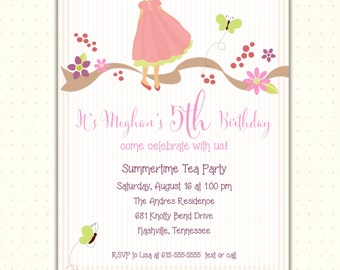 Girl Birthday Invitation, 2nd, 3rd, 4th, 5th, party, flower, dress up, tea, butterfly, digital, printable, invite G0524