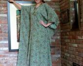 1970s Block Print Caftan Maxi Boho Ethnic Tribal   Cotton Corduroy  Hostess Dress India
